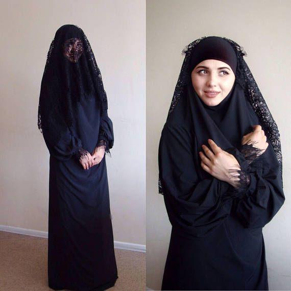 Black Khimar Maxi dress, Lace niqab veil,  elegant burqa, traditional hijab, ready to wear hijab, prayer Dress
