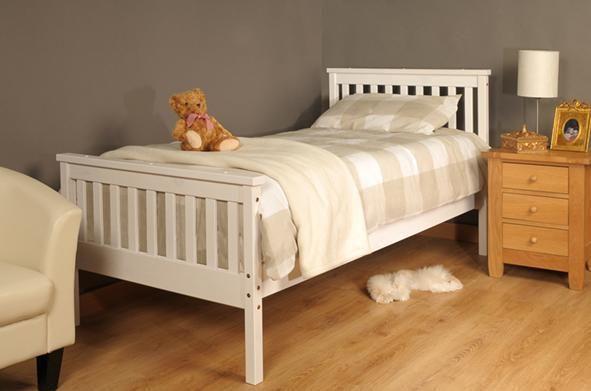 Single Bed in White 3ft Single Bed Wooden Frame White    eBay