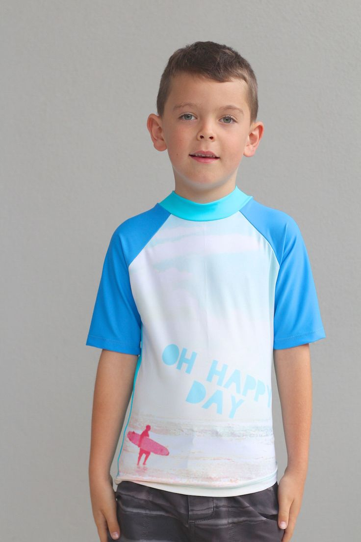 Kids swimwear short sleeve Rash Vest for boys with sublimated with surf / beach design. by LaLaLaDesigns on Etsy