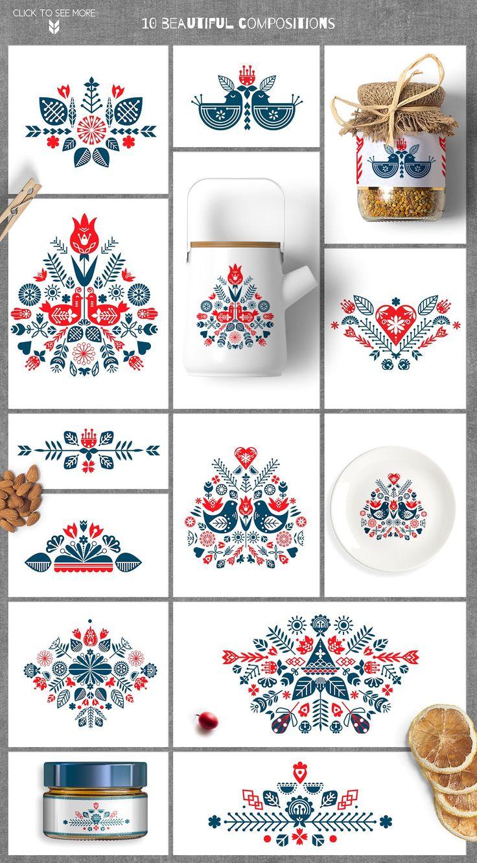 ❖Scandinavian collection❖ by Ivanna-Ivashka on @creativemarket #Scandinavian #folkart #folklore #pattern