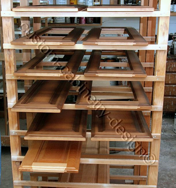 Cabinet Glazed Doors On Drying Rack