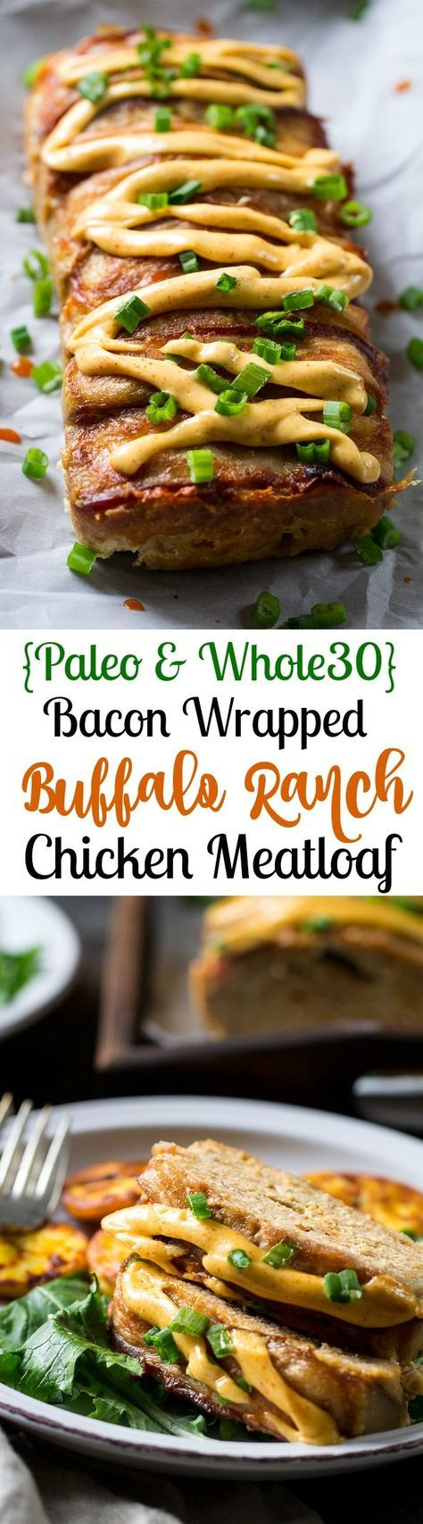 Bacon Wrapped Buffalo Ranch Chicken Meatloaf {Paleo & Whole30} this meatloaf is packed with flavor, wrapped in bacon and topped with a spicy buffalo ranch sauce!