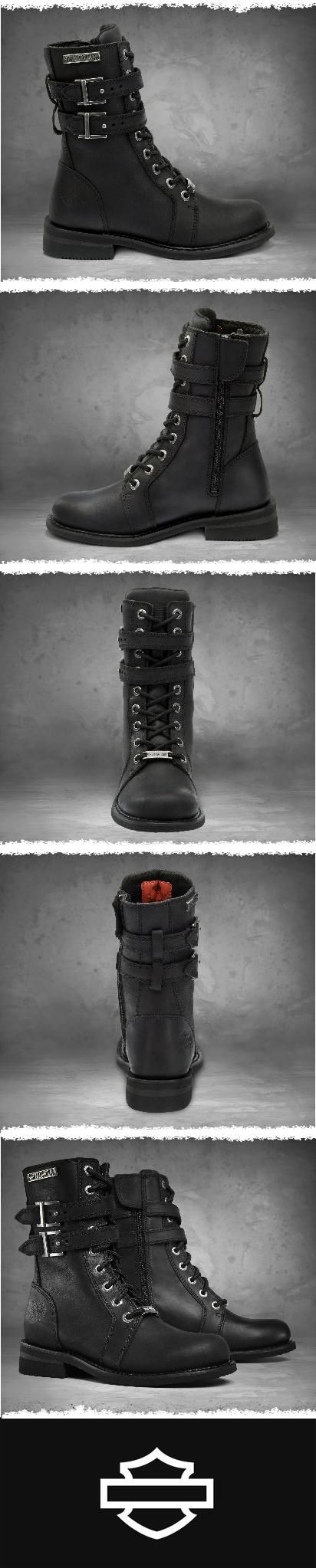 Authentic styling marks this lace-up boot. | Harley-Davidson Women's Bradbrook Performance Boots