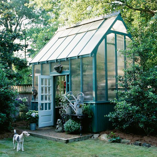 Potting sheds and greenhouses offer beautiful backyard focal points as well as a place to work and relax.