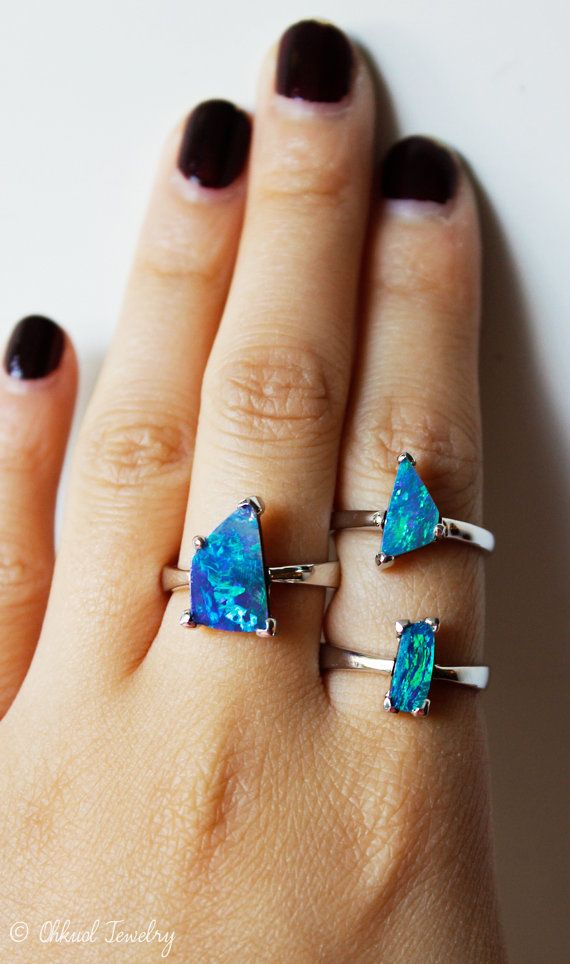 October Birthstone Ring  Raw Opal Ring  Opal Doublet by OhKuol