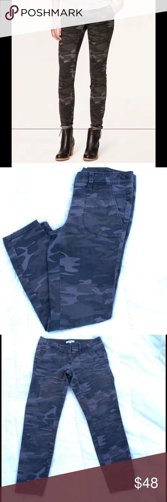 """LOFT Camo Print Skinny Pants, Marissa Fit EUC, camouflage print skinny/ankle pants with pockets at both hips, zipper fly with button closure and 2 back pockets, 97% cotton, 3% spandex. Hip to hip measures about 14.5""""; front rise about 8"""", inseam is 26"""" Pants Skinny"""