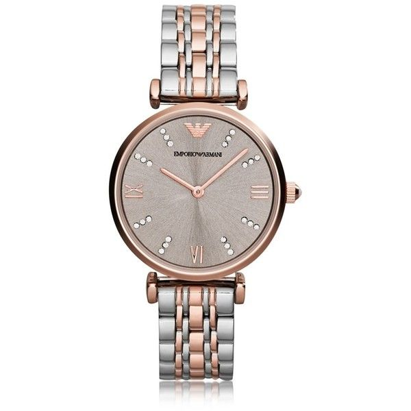 Emporio Armani Gianni T-Bar Two Tone Stainless Steel Women's Watch... (24,120 PHP) ❤ liked on Polyvore featuring jewelry, watches, pink, women's watches, roman numeral watches, stainless steel wrist watch, stainless steel jewelry, pink jewelry and dial watches