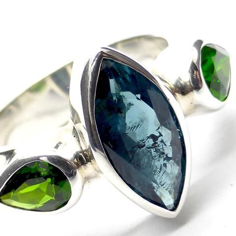 Tourmaline INDICOLITE GREEN Ring Silver
