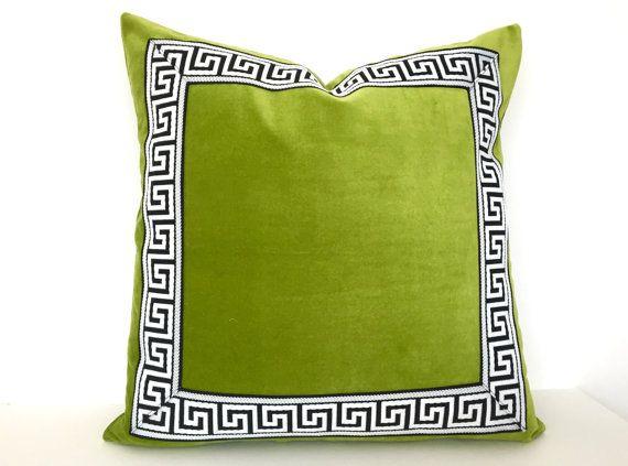 Green pillow with Greek key trim. Medium-weight lime green cotton velvet fabric…