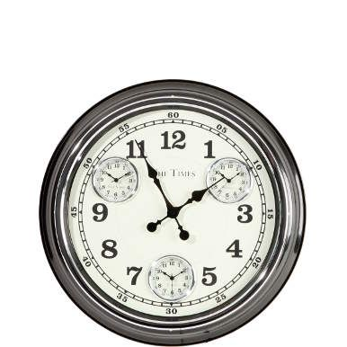 Gleich vier Zeitzonen haben Sie mit der The Times-Weltuhr im Blick. So denken Sie zur richtigen Zeit an Freunde und Verwandte und nehmen in Gedanken am Tagesablauf in der Ferne teil. Aus Metall, batteriebetrieben. In einer weiteren Farbe erhältlich.