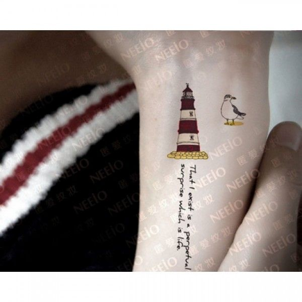 4 Pcs Lighthouse and Sea-Gull Colored Waterproof Tattoo Stickers - Tattoos - Makeup - Women's Style Free Shipping