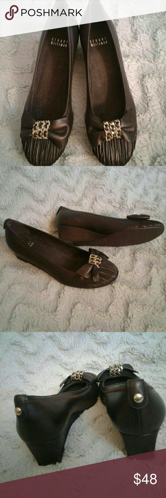 Stuart Weitzman Brown Bow Wedge Heels Women's brown bow gold detail wedge heels. Have been Gently worn, with minor small scuffing in places, soles are in really nice shape.  Size 6 Shoes Footwear Career Professional Shoes Wedges
