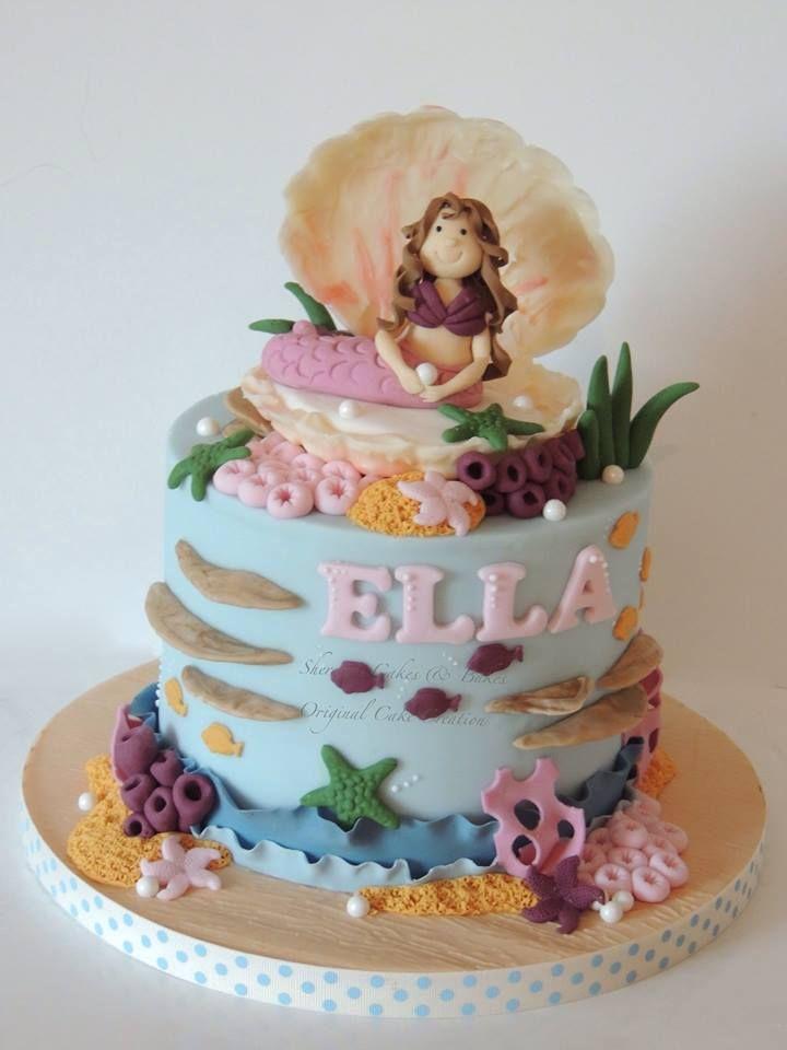 Mermaid cake with chocolate shell