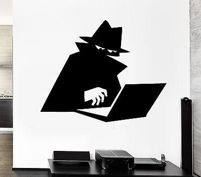 Wall Decal Spy Shadow Cloak Computer Hacker Hat Agent Vinyl Stickers Unique Gift (ed188)