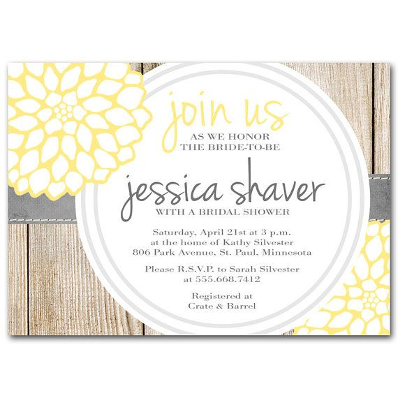 Bridal shower invitation yellow and gray baby shower by for Yellow bridal shower invitations