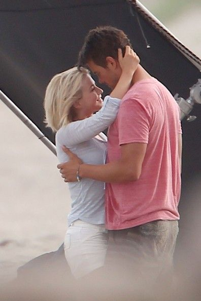 """Julianne Hough - Actors Josh Duhamel and Julianne Hough cuddle up while shooting scenes for new film """"Safe Haven"""" in Southport, North Caroli..."""