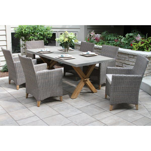 This Roese 7 Piece Sunbrella Dining Set With Cushions Includes A