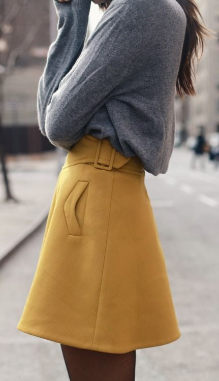 Lovely pockets! Street style | Mustard and grey.                                                                                                                                                     More