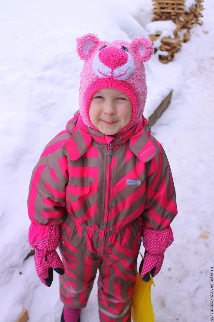 Купить Шапка -шлем МИШКА ТЕДДИ - комбинированный, шапка, шапка для девочки, шлем, шлемик