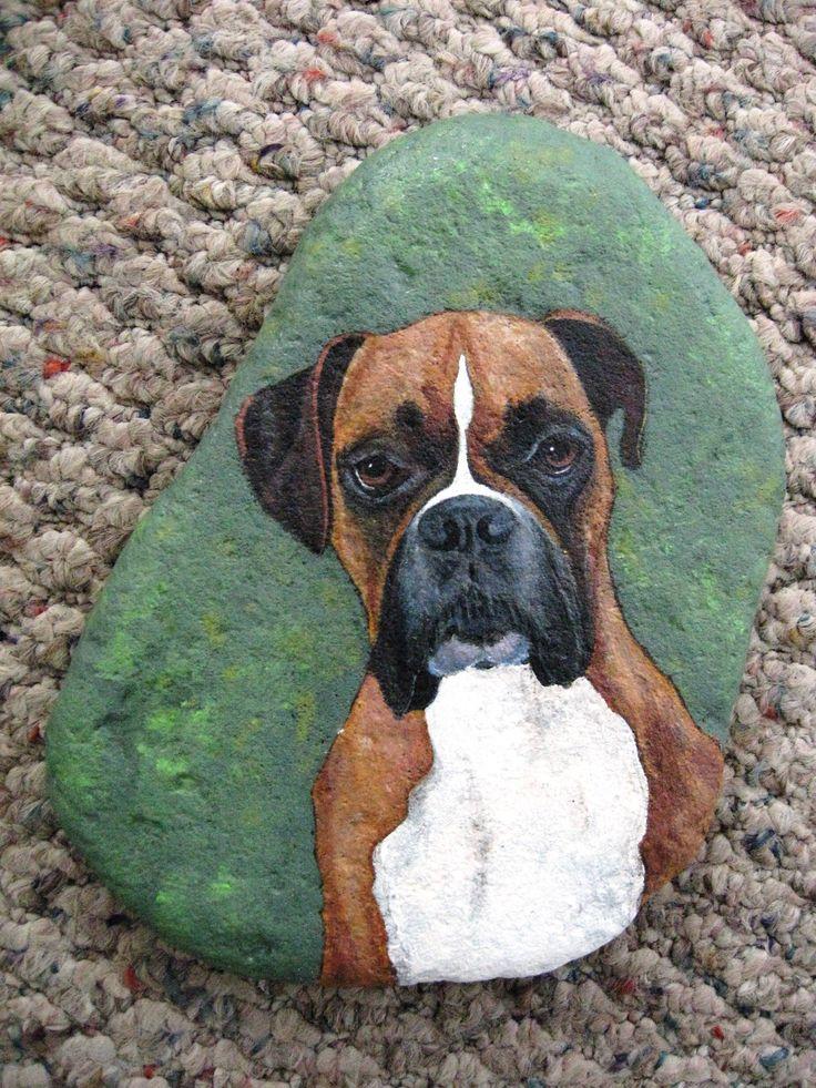 Painted rock art  good looking boxer