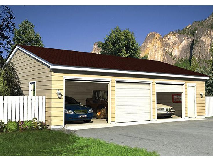 31 best garage plans with multiple sizes images on for Three car detached garage plans