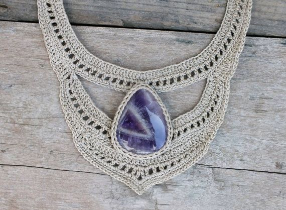 Off white necklace, Amethyst necklace, Large necklace, Statement necklace, Bib necklace, Crochet necklace, Fashion necklace, Thread necklace