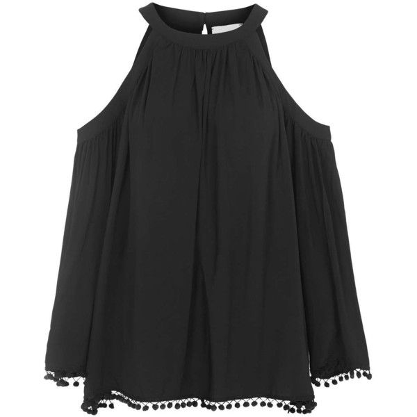 TOPSHOP **Zepplin Pom-Pom Trim Top by Another 8 ($70) ❤ liked on Polyvore featuring tops, black, topshop tops, black open shoulder top, cut out shoulder top, cutout shoulder top and black top