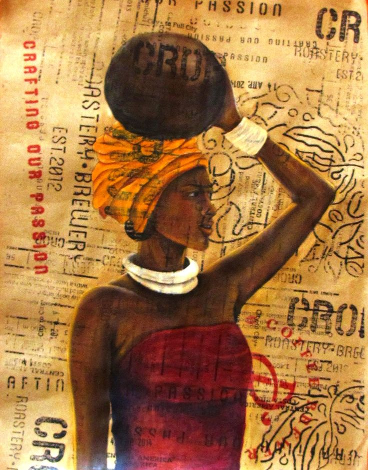 Sofia Filea, www.facebook.com/sofiafileasart acrylics on printed paper, african woman, crop,