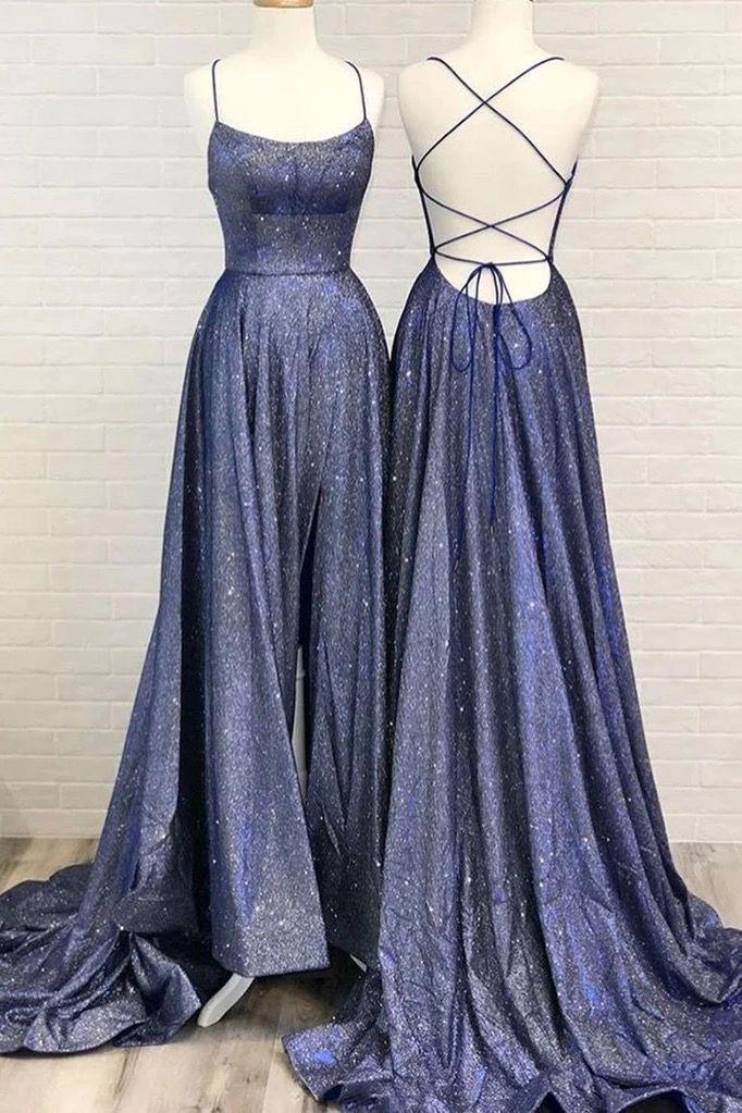 Einfache blaue Satin Sweep Zug rückenfrei schnüren Abendkleid, Abendkleid von Schatz Kleid