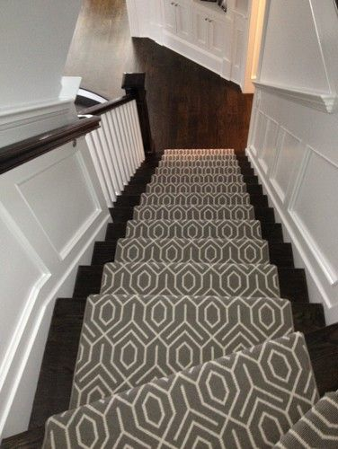 stair runner - I kind of like this patterned carpet for a floor. I wonder if it would work or it would be too busy?