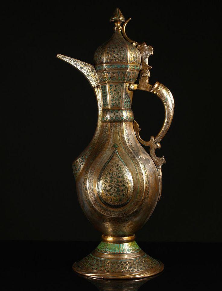 A Fine 19th c. Islamic Enamelled Silvered Brass & Copper Teapot, Bukhara.