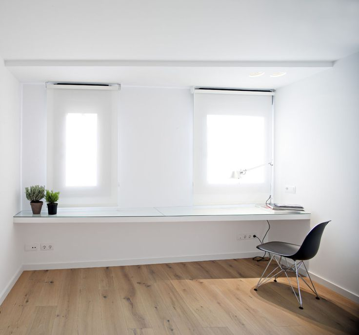 Apartments, Excellent Small Modern Duplex Apartment For Couple By 32 Arquitectura Featuring White Work Table, Black Chair, Interior Garden And Parquet Wooden Floor: Modern Minimalist Duplex Apartment Decor Specially Created for Young Couple
