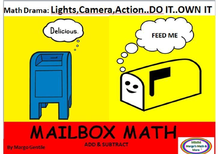 "Mailbox Math is all about addition and subtraction the hands on way! This is part of my ""Math Drama"" series. Explicit instructions for making mailboxes, addressing mail, and creating bulk and regular pieces of mail. Once these props are made, it's time to ""act out"" the given scenarios.(word problems) Templates provided for ""delivery jobs""- 6 different scenarios.The amount of scenarios you can create is almost limitless!Find at www.teacherspayteachers.com/Store/Margo-Gentile"