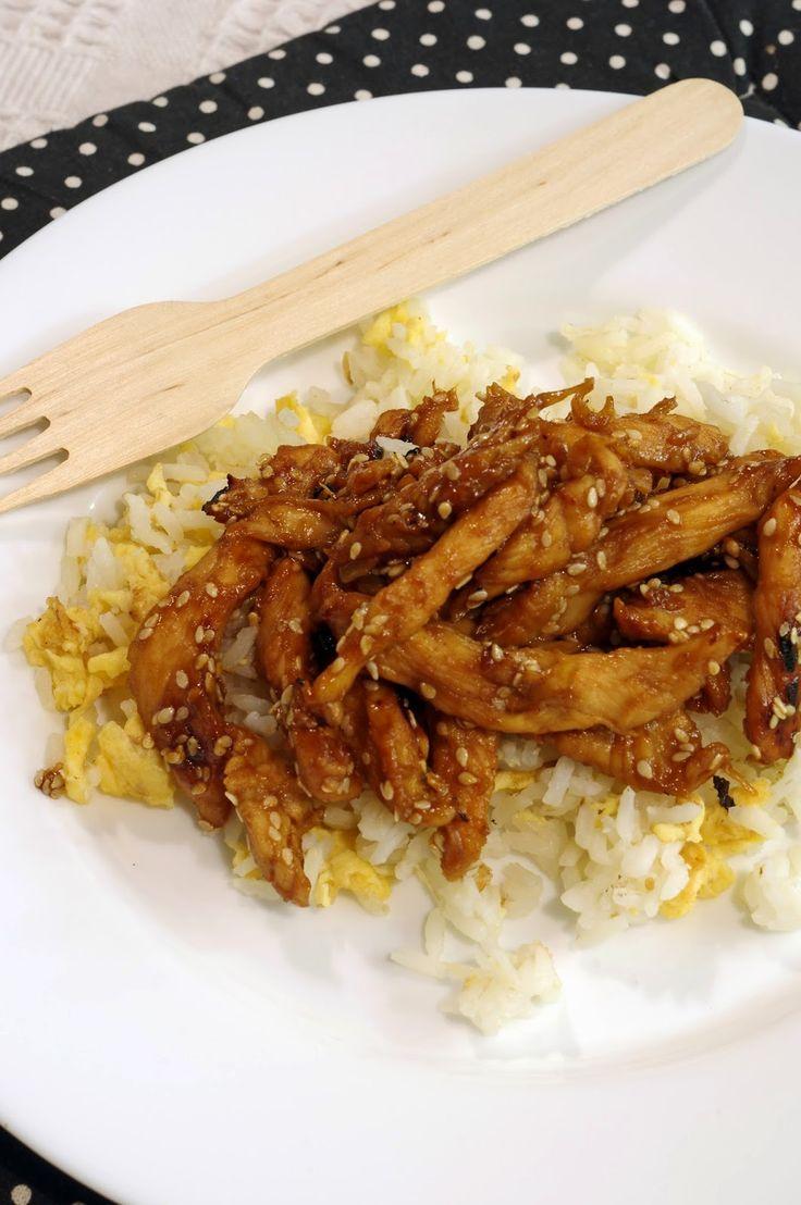 Szofika a konyhában...: Mézes-mustáros-szezámmagos csirke tojásos rizzsel