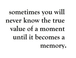 Sometimes you will never know the true value of a moment until it becomes a memory. // Algunas veces no descubrirás el valor de un instante hasta que se convierta en un recuerdo.