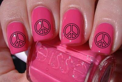 Peace Sign Nail Decals 36 Ct. via Etsy