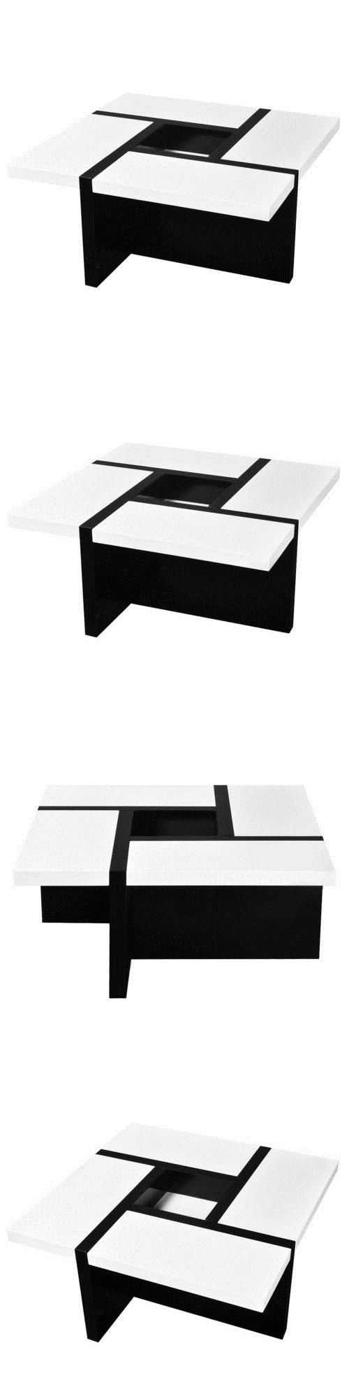 Tables 112590: Vidaxl Coffee Side End Table High Gloss Black And White Living Room Furniture -> BUY IT NOW ONLY: $119.99 on eBay!