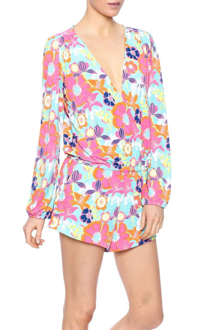 Bright floral printed romper with long sleeves, crossover top and an elastic waist. Pink Floral Romper by Macbeth. Clothing - Jumpsuits & Rompers - Rompers Florida