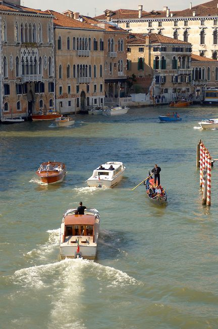 Water Taxis & Gondolas on the Grand Canal - Venice Italy
