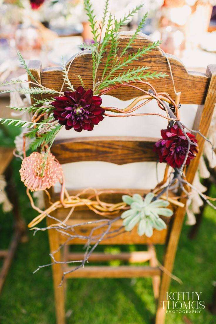 Orlando Wedding | Bella Collina | Bella Collina Wedding | Tuscan Wedding | Tribal Wedding | Floral Chair | Wedding Chairs | Burgandy Flowers | Succulent Wedding | Wooden Chairs | Wedding Floral | Kathy Thomas Photography