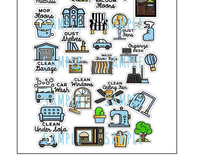 afdrukbare planner stickers klusjes schoonmaken
