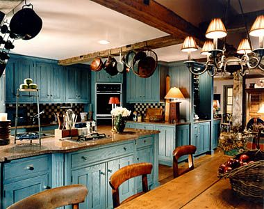 country chic kitchen | Blue Country Kitchen Decoration Style Blue Country Kitchen Decoration