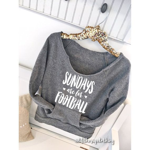 Sundays are for Football slouchy sweater with pocket . comfy fall sweater . off the shoulder sweater . Football Season