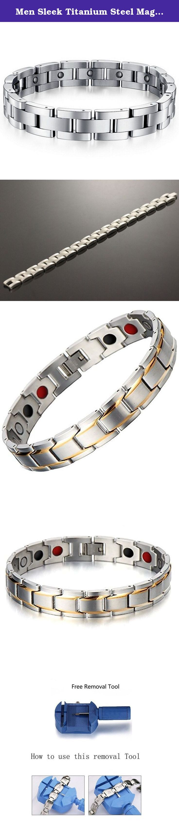 Men Sleek Titanium Steel Magnetic Therapy Bracelet in Velvet Gift Box with Free Link Removal Tool. Blending elegance with strength, this super lightweight bracelet from our latest collection,it is made from finest quality Titanium, 230mm long and approx. 11mm wide, it comes packed in an impressive bracelet box at no extra cost. Also included in the price is an easy-to-use Link Removal tool, allowing you effortlessly to adjust the bracelet to your requirements from the convenience of your…