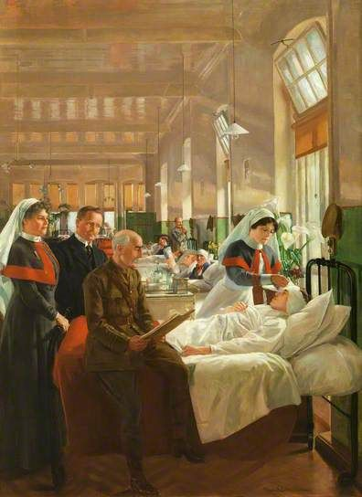 Care of Wounded Soldiers at Cardiff Royal Infirmary during the Great War. The wounded hero is extremely well cared for, his sacrifice and suffering repaid by two nurses and a senior officer. Would this be a reality for the majority of the many war-wounded?