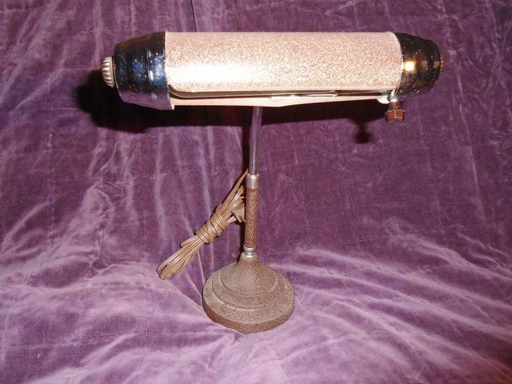 Art  Deco Piano Desk Lamp Antique Textured Brown Steel Industrial 1930's