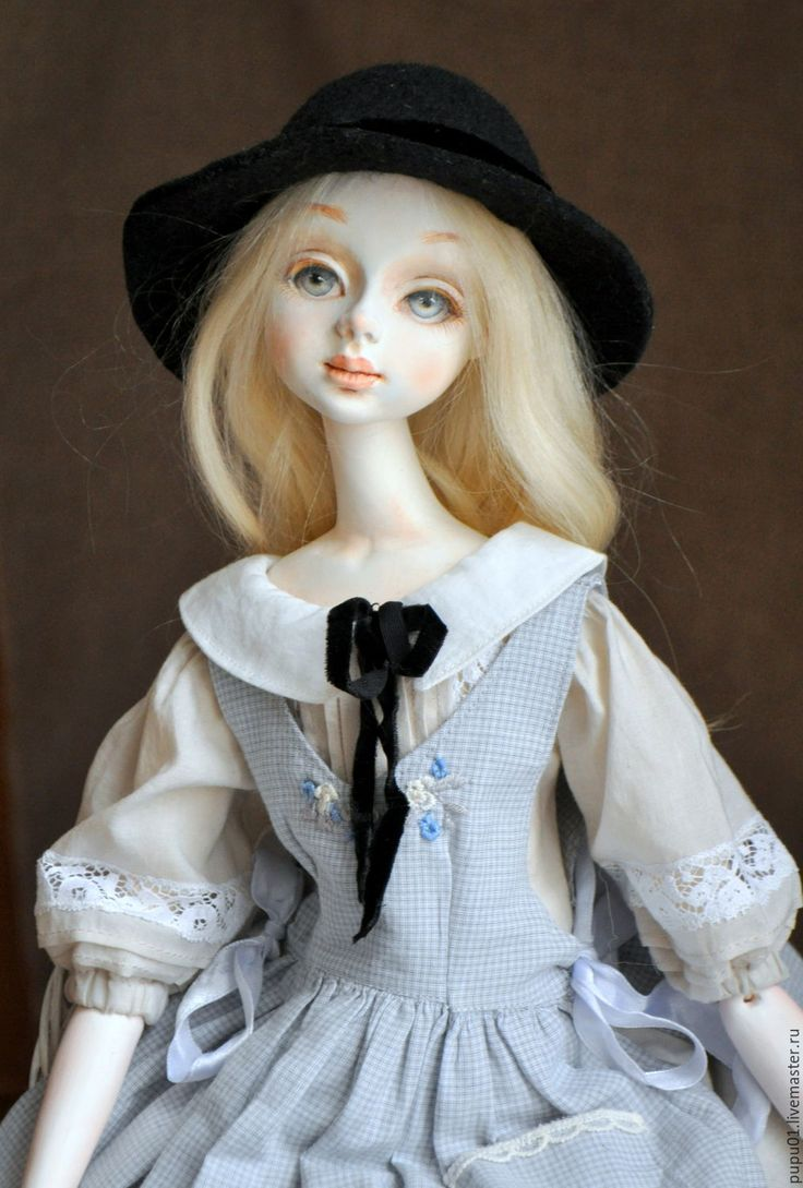 Купить Коллекционная кукла Мишель - серый, кукла ручной работы, авторская кукла, коллекционная кукла
