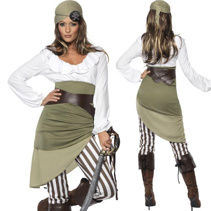 Piratenkostüm Damen Karibik Kostüm Piratin Seeräuber Augenklappe Größe S M L XL