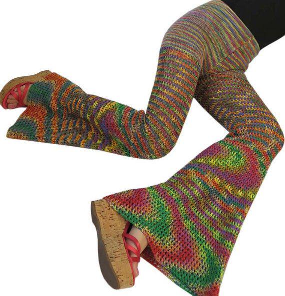 Size Medium / 8-10 - Double Rainbow Cotton Crochet Pants / Bell Bottoms / Flared Leggings