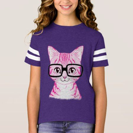 Unique Hand Drawn Nerdy Cat Girl's Football Tee - click to get yours right now!